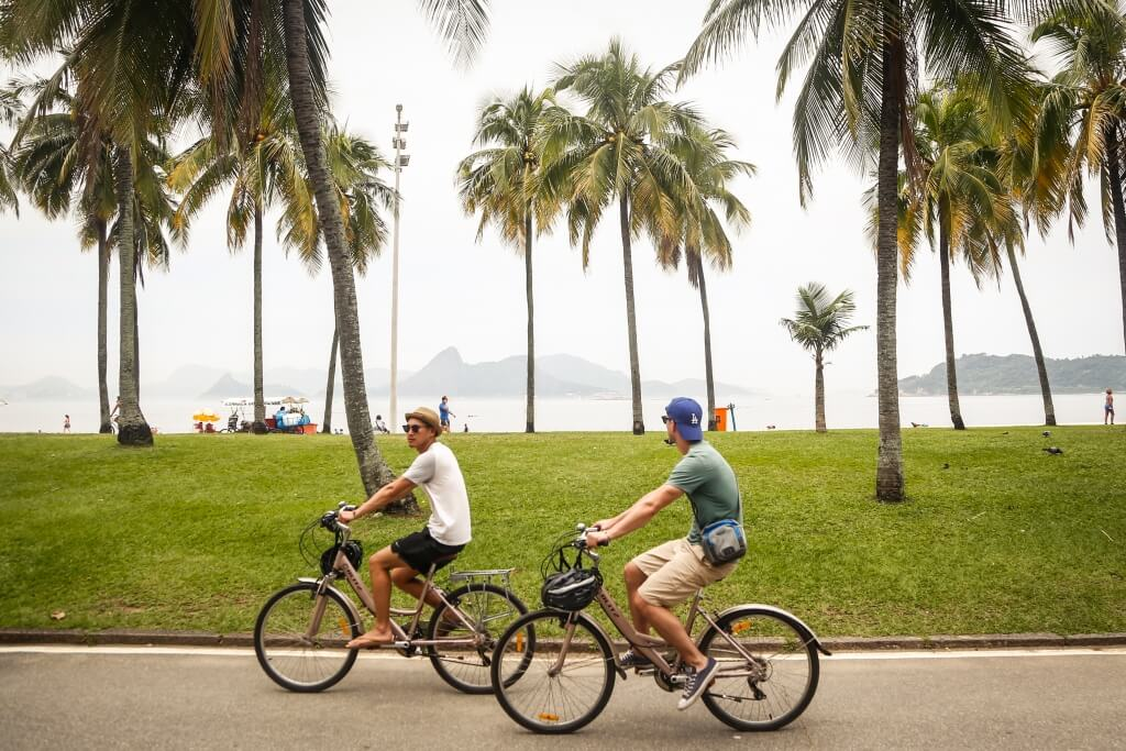 Cycling through Flamengo Park on Rio Full City Bike tour