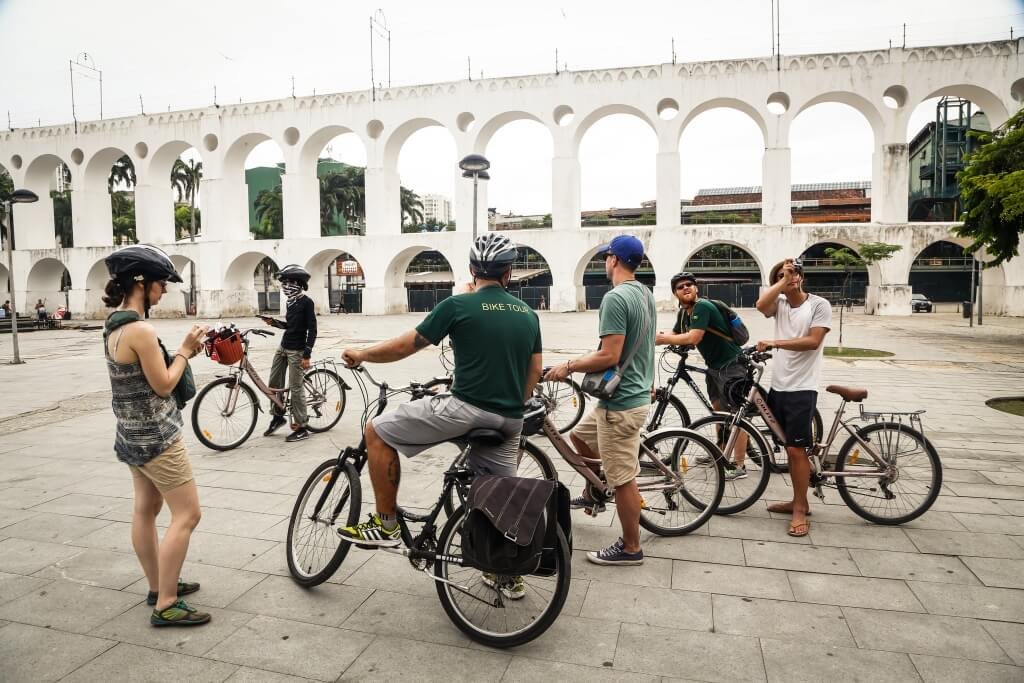 Rio City Bike Tour talking history of Lapa.